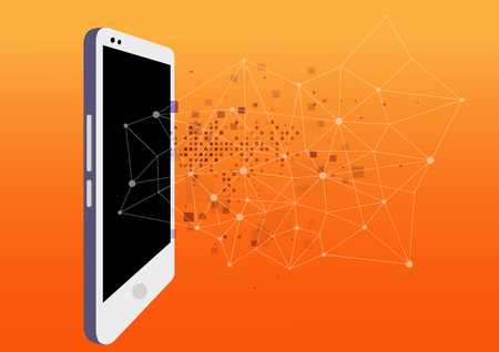 Internet and social networks in your smartphone. programming and development of mobile applications. To log on to the Internet, the concept.