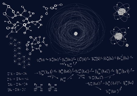 Chemical and physical set of elements on a dark blue background. Formulas and schemes of radioactive decay and extraction of elements. Model of atom Illustration