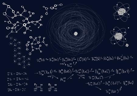 Conjunto de elementos químicos y físicos sobre un fondo azul oscuro. Fórmulas y esquemas de desintegración radiactiva y extracción de elementos. Modelo de átomo