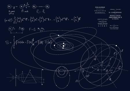 Fórmulas de la mecánica clásica, leyes de Newton. Física del movimiento de los cuerpos, leyes de la gravedad y óptica. Fórmulas sobre un fondo oscuro Ilustración de vector