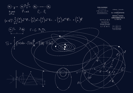 Formulas of classical mechanics, Newton's laws. Physics of motion of bodies, the laws of gravity and optics. Formulas on a dark background