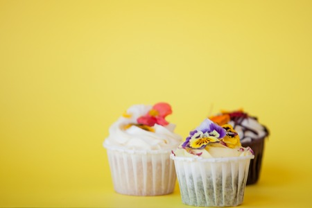 set of delicious cupcakes with different fillings and cream. Three muffins with cream on a yellow background, copy space