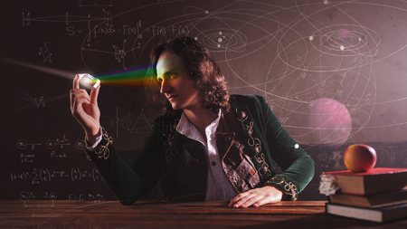 Geschiedenis van de wetenschap, concept. Isaac Newton en natuurkunde. De wetenschap van licht, optica. Lichtbreking en wetenschappelijk onderzoek in de natuurkunde.