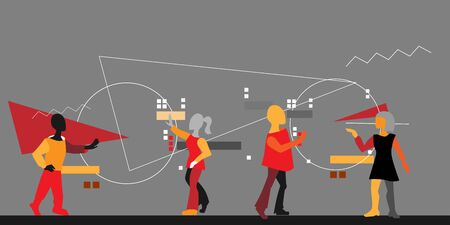 Teamwork, working process in a group of people, abstract composition in the style of avant-garde or abstract art. Brainstorming and people-to-team interaction, concept, angular style