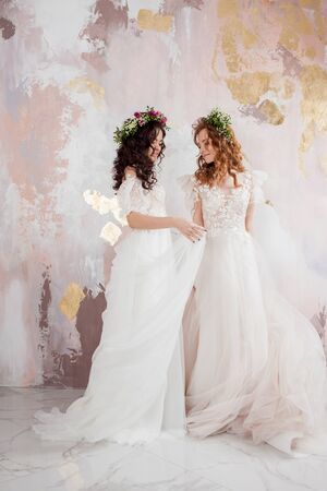 Two charming brides in beautiful spring wreaths on their heads. Beautiful young women in wedding dresses, Studio portrait