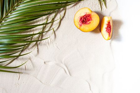 Beach vacation. A palm leaf, a starfish, and a white tree branch and juicy fruits lie on white fine sand. Close-up, top view, desktop wallpaper. Copyspace.