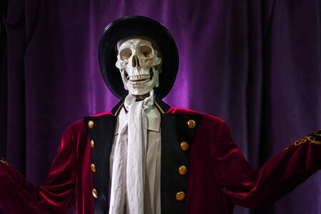 Halloween is coming soon, showman skeleton invites to Halloween party, concept