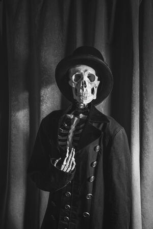 Happy Halloween, skeleton dressed in Victorian retro style Banque d'images