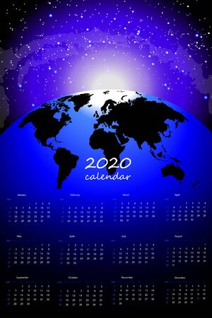 Print for wall calendar 2020 With planet Earth on the background of space, sunrise, new year. blue glow of the sky Ilustração
