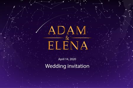 Wedding invitation template, postcards. The names of the bride and groom on the background of the starry sky, space and romance, stars on the background of the dark blue sky.