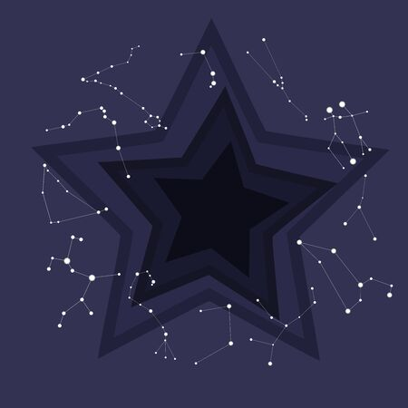 Astronomically true constellations of the zodiac circle. Dark blue sky in cute cartoon style. Background with star shaped levels down Фото со стока - 134837115