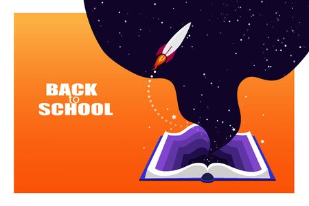 Back to school, poster with open book. The universe of knowledge, the cosmos within. Rocket is committed to new discoveries