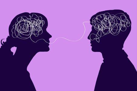 Diálogo entre dos personas, concepto de pensamiento confuso. Comunicación entre un hombre y una mujer, problemas de comprensión. Dos siluetas con un cerebro enredado sobre un fondo rosa