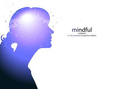 Profil einer jungen Frau mit geistiger Aktivität Gehirn und Bewusstsein, mit dem Kosmos als Gehirn. wissenschaftliches Konzept. Gehirn und Kreativität.