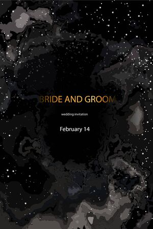 Wedding invitation template, postcards. The names of the bride and groom on the background of the starry sky, space and romance, stars on the background of the dark sky. Illustration