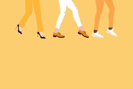 evolution of fashion in womens shoes, from high-heeled shoes to boots and comfortable sneakers, concept on yellow background. Womens feet go forward, flat style place for text. 向量圖像