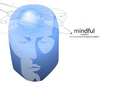 Gesicht des Menschen mit geistiger Aktivität, Gehirn und Bewusstsein, mit dem Kosmos als Gehirn. wissenschaftliches Konzept. Gehirn und Kreativität.