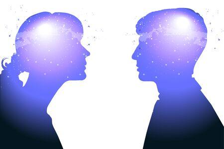Profil einer jungen Frau und eines Mannes mit geistiger Aktivität Gehirn und Bewusstsein, mit dem Kosmos als Gehirn. wissenschaftliches Konzept. Gehirn und Kreativität. Vektorgrafik