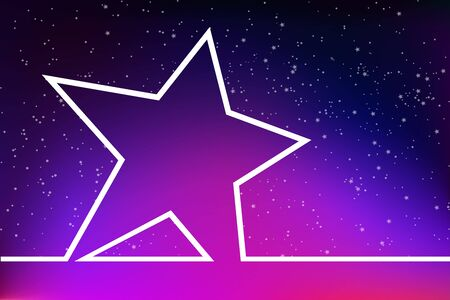 Super star on the background of space. Blank a large star on the background of the starry sky with beautiful romantic pink purple gradient