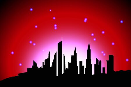 silhouette of a big city against the background of radiance and starry sky, humanity against the background of the universe Иллюстрация