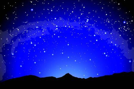 Berglandschaft, dunkle Nachtsilhouette der Erdlandschaft vor dem Hintergrund des Weltraums. Erde und die Milchstraße