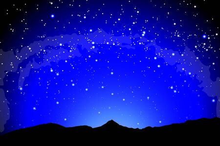 Mountain landscape, dark night silhouette of the earth landscape against the background of space. Earth and the milky way galaxy