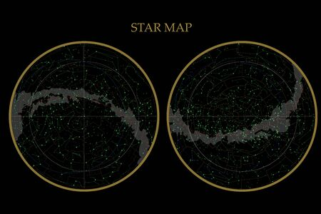 véritables constellations de l'hémisphère sud et de l'hémisphère nord, carte des étoiles. Astronomie scientifique, carte du ciel sur fond noir Vecteurs