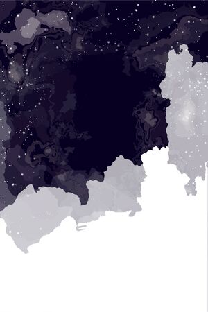 Beautiful abstract background of romance and science, Night sky stars through clouds. Copy space on a background of white clouds