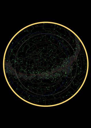 true constellations of the southern hemisphere, star map. Science astronomy, star chart on black background Vektorgrafik