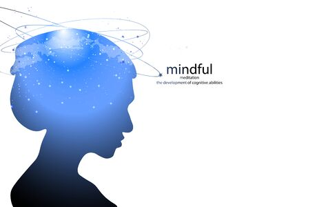 Profile of a young woman with mental activity brain and consciousness, with the cosmos as a brain. scientific concept. brain and creativity.