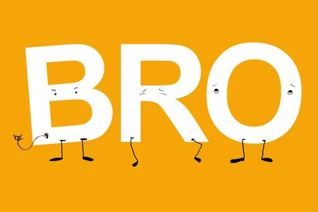 Big BRO large animated letters. humanized acronym with faces. white letters on yellow background Иллюстрация