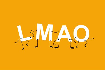 lmao. laughing my arse off funny, humanized acronym without faces. white letters on yellow background