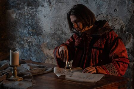 History of science, concept. Nicholas Copernicus author of the heliocentric system of the world, the scientific revolution of the Renaissance. History of scientific progress