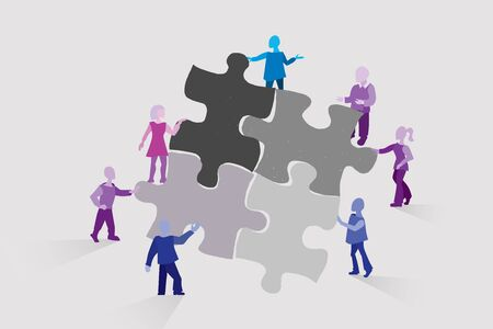 Teamwork, concept of collaboration as a symbol of collecting puzzle. team of different people working together on the project Illustration