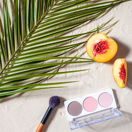 Vacation. A sculpting palette and a blush brush lie on the beach sand, surrounded by vibrant fruits, corals, and palm leaves. Close-up, top view, desktop wallpaper. Copyspace.ation.