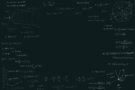 Astronomy and astrophysics, formulas for physics mathematics and astronomy on a dark green chalk Board. Inflation and the big Bang theory.