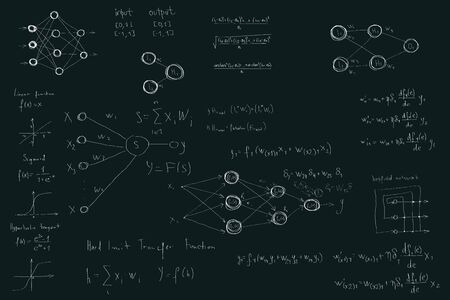 Formulas and diagrams computer science and data science, neural network diagrams and calculation formulas. on the chalk Board, hand made style