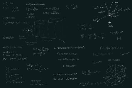 Astronomy and astrophysics, formulas for physics mathematics and astronomy on a dark green chalk Board. Inflation of the universe and the big Bang theory