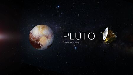 Pluto and the new horizons mission, deep space exploration, planet and inscription.