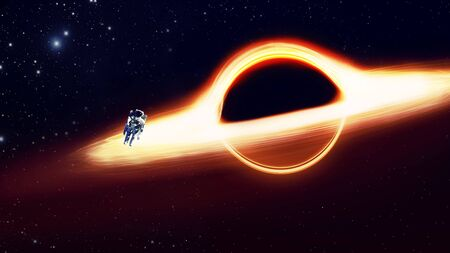 black hole and a disk of glowing plasma. The fall of the astronaut at the event horizon, gravity.