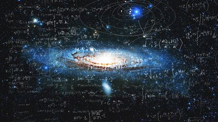 Science and research of the universe, spiral galaxy and physical formulas, concept of knowledge and education. Elements of this image furnished by NASA. Stock fotó