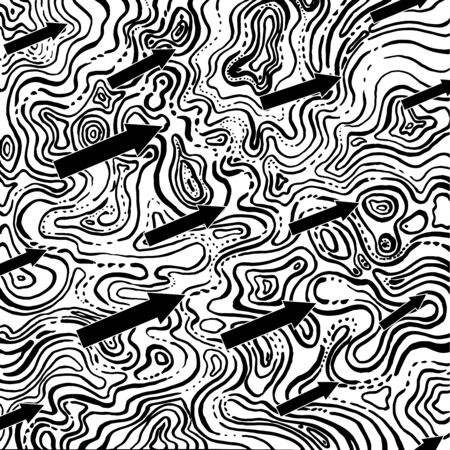 Chaotic and directed, a vector for moving forward as a contrast to chaos and disorganization. black arrows and lot of chaotic curved , chaotic and abstract, hand-drawn graphics