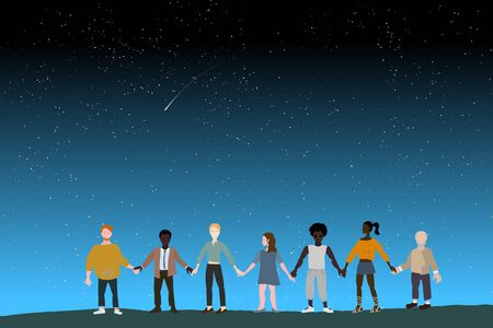 Together we are strong. A multinational group of people stand together holding hands against the starry sky. Epic concept