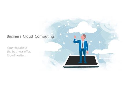 Cloud computing for business, concept. Layout with space for text, a businessman on background of sky. Syncing data from your smartphone and tablet with cloud storage 版權商用圖片 - 146704867