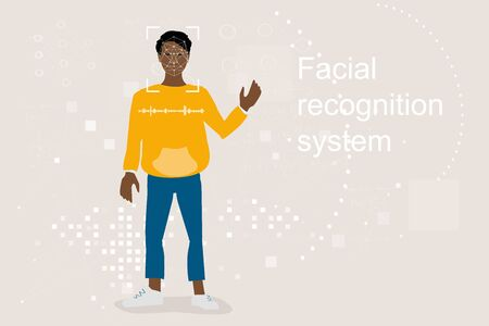 Technologies for personal identification, face and voice recognition. Modern neural network technologies for security, concept