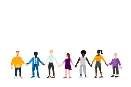 Together we are strong. A multinational group of people stand together holding hands, Light background, free space for your text