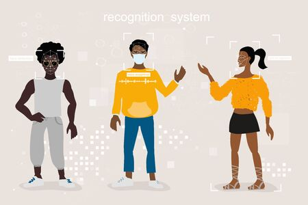face, voice, gait, and pattern recognition. neural network, different people, recognition in full face, profile, with glasses and medical mask. Different approaches to identification on the street