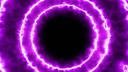 Dynamic abstract tunnel. Circles of purple radiance are moving towards you
