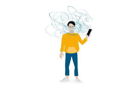 Overdose of information from social networks. A user with a smartphone in hand is wrapped in a tangle of lines, concept Illustration