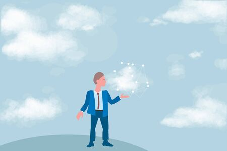 Cloud computing for business, concept. Layout with space for text, a businessman on background of sky withwith cloud and network in hand, cloud computing concept Фото со стока